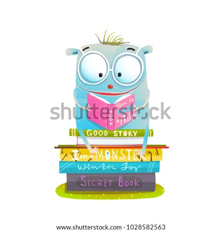Character Sitting on Stack of Books Reading. Study and read cutie happy monster. Vector illustration.