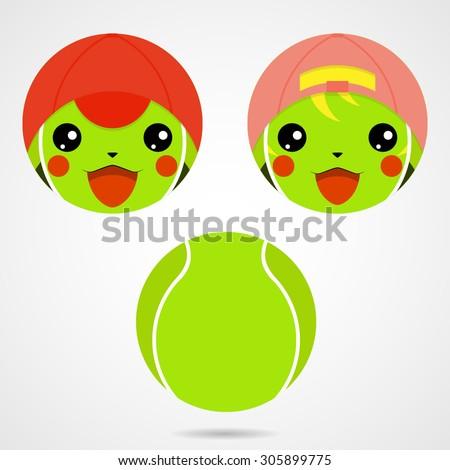 character tennis ball cute