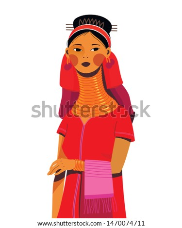 Character vector padaung girl with long neck tribe from Myanmar (Kayan Tribe) (Burma), Thailand, isolated on white backgraund