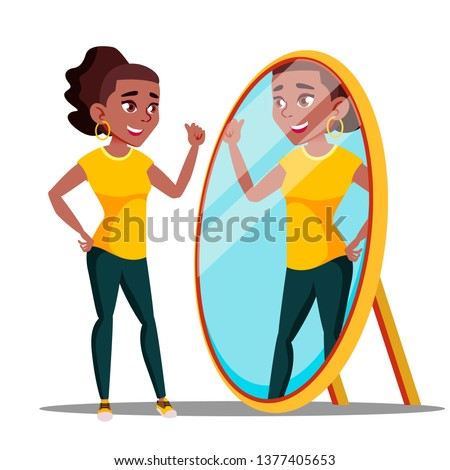 character woman watch mirror