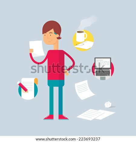 Character writer Vector illustration flat style