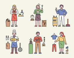 Characters and icons of various professions. Florist, bakery, barber shop, fish shop, coffee shop, clothes shop. flat design style minimal vector illustration.