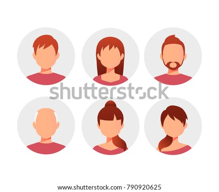 Characters avatars in cartoon flat style. People avatars collection - stock vector