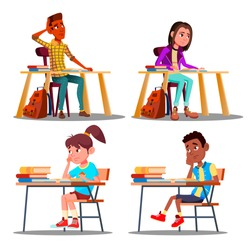 Characters Bored Pupils During Lesson Set Vector. Unhappy Bored Teenager Student Boy And Girl Tired Stressed Of Reading, Doing Homework. Dislike Education Flat Cartoon Illustration