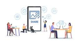 Characters Browse Social Networks. Men and Women Making Post and Sharing Happy Moments with Their Followers and Friends in Social Media. Influence and Addiction. Cartoon People Vector Illustration