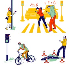Characters Carelessness while Use Smartphones on City Background. Young Men, Women, Teenagers Chatting and Communicate Using Gadgets Crossing Road, Walking on Street. Linear Vector People Illustration