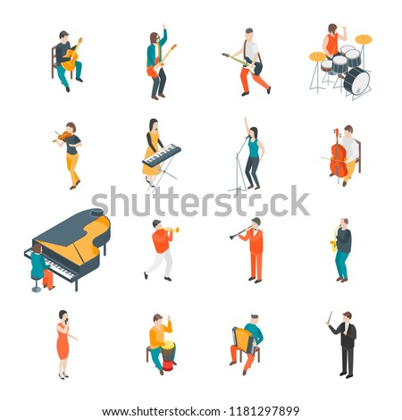 Characters Different Musicians People Set 3d Isometric View Include of Guitarist, Singer, Drummer and Saxophonist. Vector illustration