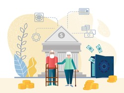 Characters for retirement plan and personal finance program vector concept. Happy senior old people saving pension money. Pension service, retirement planning investment illustration