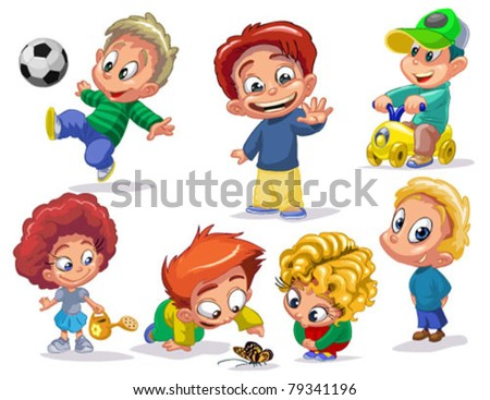 stock vector : characters funny kids on a white background