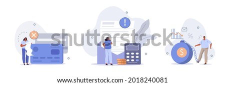 Characters having financial problems, debts and loans. People holding long bill, reading letter from collection agency and carrying debt. Flat cartoon vector illustration and icons set.