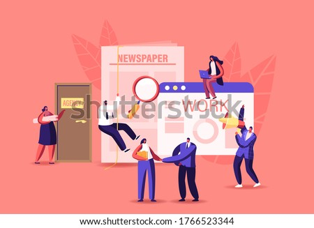 Characters Hiring Job in Newspaper Ads and Online. Work Interview in Office with Applicants, Cv Documents. Hr Agent with Loudspeaker Announcement for Candidates. Cartoon People Vector Illustration