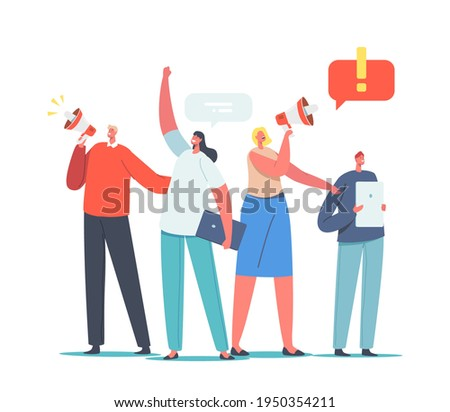 Characters Holding Digital Devices and Megaphone Call to Sign Online Petition. Law-abiding Citizen, City Dwellers Execute their Rights and Duties in Political Life. Cartoon People Vector Illustration