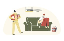 Characters Home Cinema Recreation. Young Man in 3d Glasses Sitting at Sofa with Soda Drink Watching Movie or Sport in Tv, Woman with Popcorn. Weekend Evening Leisure. Linear People Vector Illustration