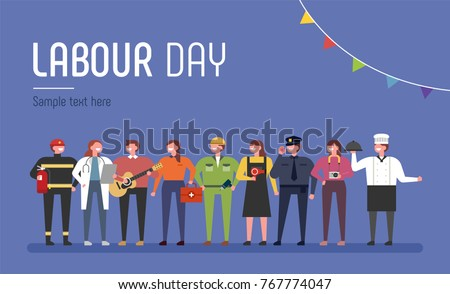 Characters in Uniforms by Labor Day. vector illustration flat design