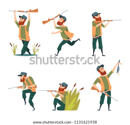 Characters of hunters. Vector cartoon illustrations of various hunter mascots. Hunter character with rifle and duck