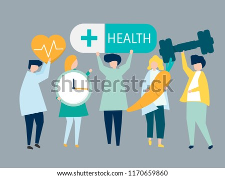 Characters of people holding health icons illustration #1170659860
