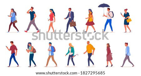Characters of people walking down the street in light clothes vector illustation. Young girls and men walk isolated on a white background side view. Stok fotoğraf ©