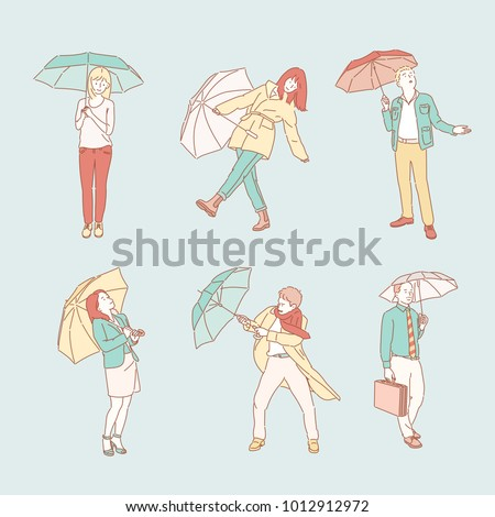 Characters of various behaviors on a rainy day. hand drawn style vector doodle design illustrations.