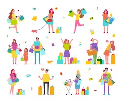 Characters on shopping with hands full of colorful paper bags isolated vector illustration on white background. People buy presents set.