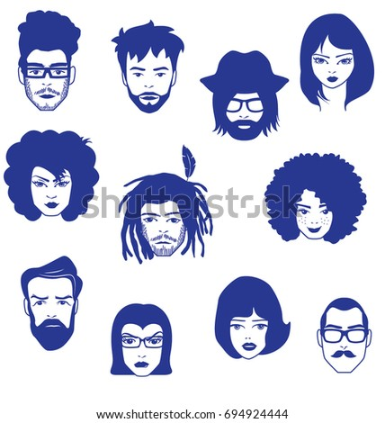 CHARACTERS, PEOPLE FACES. Vector illustration file.