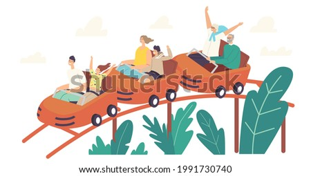 Characters Riding Roller Coaster in Amusement Park. Excited Young and Senior Men, Women and Kids at Rollercoaster Cars. Weekend Recreation, Extreme, Family Leisure. Cartoon People Vector Illustration Foto stock ©
