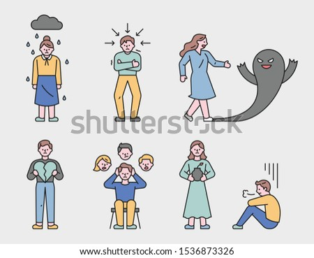 Characters showing various psychologically unhappy states. flat design style minimal vector illustration.
