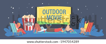 Characters Spend Night with Friends at Outdoor Movie Theater. People Watching Film on Big Screen with Sound System. Open Air Cinema at House Backyard or City Park Concept. Cartoon Vector Illustration