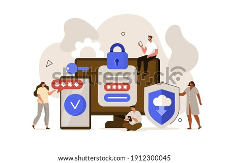 Characters standing near Smartphone with Sms Authentication Password and Laptop with Online Login Form on Screen. Two Steps Secure User Authorization Concept. Flat Isometric Vector Illustration.
