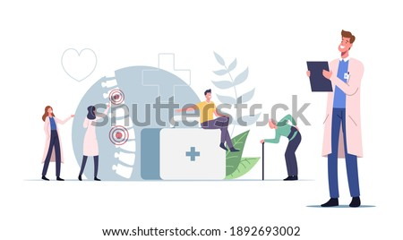 Characters Suffer of Backache or Lumbago Concept. Unhealthy Young and Old People Visiting Doctor for Sore Spine Inflammation and Back Pain Treatment, Health Care, Medicine. Cartoon Vector Illustration