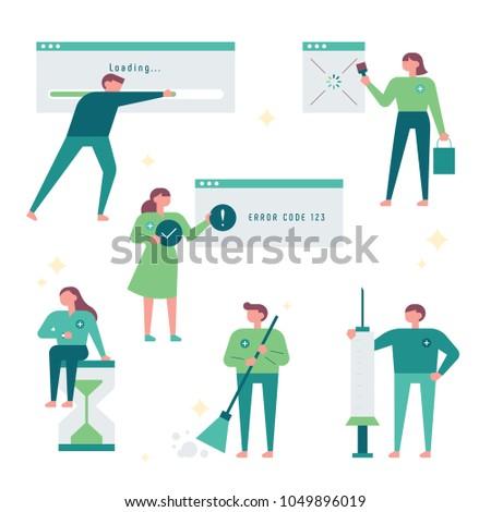 Characters that fix computer errors. vector illustration flat design