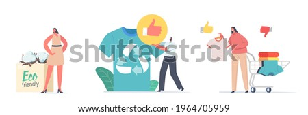 Characters Use Recyclable and Eco Friendly Textile. Sustainable Fashion, Manufacturing Brand, Green Technologies, Ethical Clothing Production Selling Concept. Cartoon People Vector Illustration ストックフォト ©