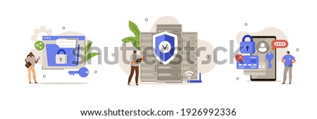 Characters using Cyber Security Services to Protect Personal Data. Online Payment Security, Cloud Shared Documents, Server Security and Data Protection Concept. Flat Cartoon Vector Illustration.