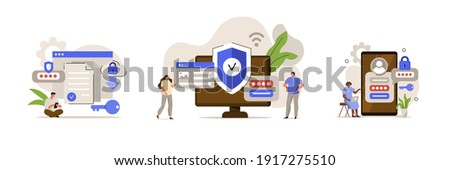 Characters using Cyber security Services to Protect Personal Data. User Authorization, Two Steps Authentication and Cloud Shared Documents Concept. Flat Cartoon Vector Illustration.