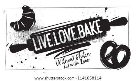 Charcoal bakery poster. Kitchen accessories for baking - rolling pin with lettering