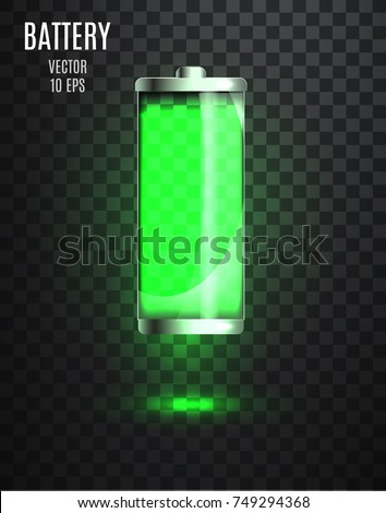 Charged battery. Low battery. Battery charging status indicator. Glass realistic power battery illustration on transparent background. Full charge total discharge. Charge status. Vector.