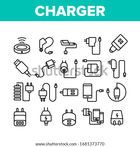 Charger Energy Device Collection Icons Set Vector. Wireless And Cable Electrical Charger, Car And Usb Charging Cord, Smartphone Battery Tool Concept Linear Pictograms. Monochrome Contour Illustrations Foto stock ©