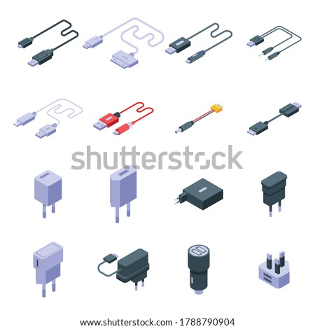 Charger icons set. Isometric set of charger vector icons for web design isolated on white background Photo stock ©