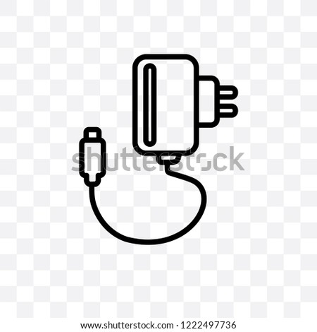 Charger vector linear icon isolated on transparent background, Charger transparency concept can be used for web and mobile