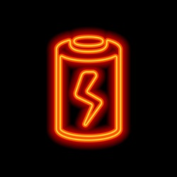 Charging battery with lightning sign, technology icon. Orange neon style on black background. Light icon