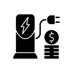 Charging cost black glyph icon. Amount of money payed for charging battery of electromobile. Natural fuel. Ecological way of traveling. Silhouette symbol on white space. Vector isolated illustration