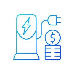 Charging cost gradient linear vector icon. Amount of money payed for charging battery of electromobile. Natural fuel. Thin line color symbols. Modern style pictogram. Vector isolated outline drawing