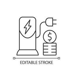 Charging cost linear icon. Amount of money payed for charging battery of electromobile. Thin line customizable illustration. Contour symbol. Vector isolated outline drawing. Editable stroke