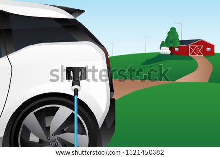Charging electric car on the background of the countryside. New energy vehicle. Environment conservation. Vector illustration EPS 10