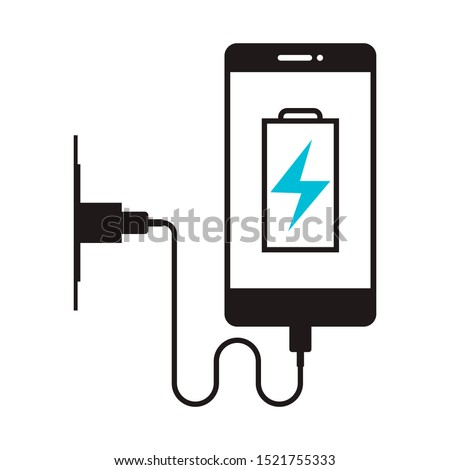 Charging phone icon in flat style isolated. Vector Symbol illustration. Foto stock ©