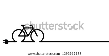 Charging point cable battery station for an electric ebike e bike bicycle line pattern seamless Vector Sport signs sign icon icons symbol sportswear funny fun silhouette cyclist riding City e-Bikes