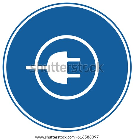 Charging Sign Blue. Vector.
