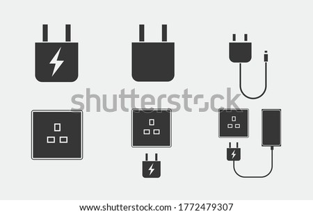 charging vector icon set phone charger plug socket icon electricity