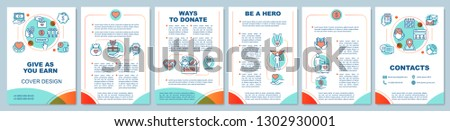 Charitable foundation brochure template. Volunteering organization. Flyer, booklet, leaflet print design. Blood, organ donation. Help and support. Vector page layouts for magazines, reports, posters