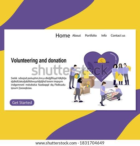 Charitable foundation, volunteer collect and donate, charity or help for people and kids, Illustration social benefactor web landing page, vector helpful fund. Volunteering toys clother and things Stock photo ©
