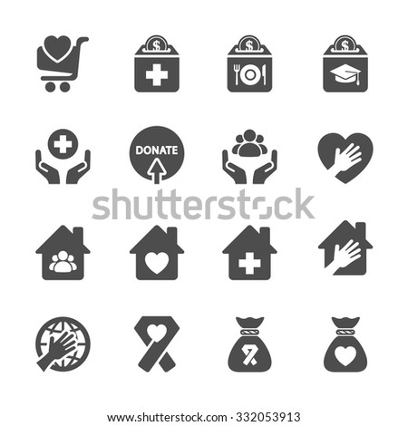 charity and donation icon set 9, vector eps10